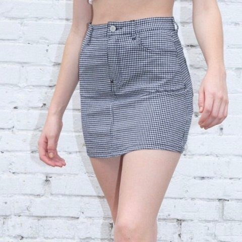 dfff96576 Brandy Melville Gingham black and white checkered skirt!! a - Depop
