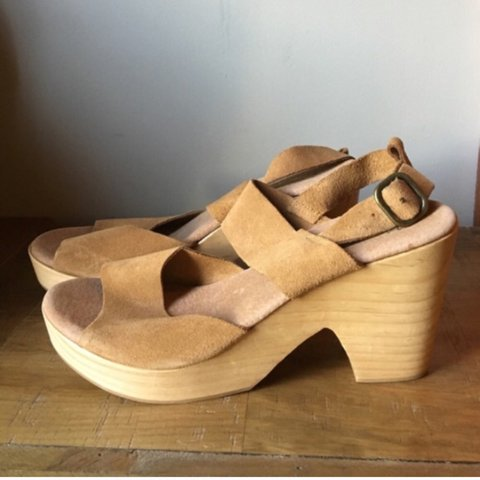 981f553ccc7 Free People platform sandals- leather   wood platform from I - Depop