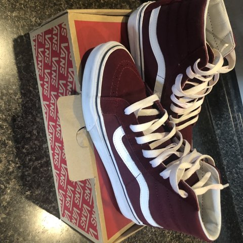4e96632fb0 Vans burgundy size 5.5 men 7 in women s - Depop