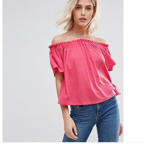 9e163f2fc1915b Bright pink cold   off the shoulder Bardot top from new look - Depop