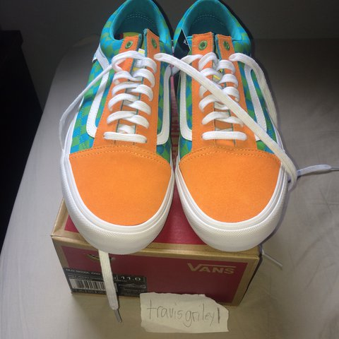 a54ae502612d Golf Wang Old Skool vans Orange Green Brand New with with OG - Depop