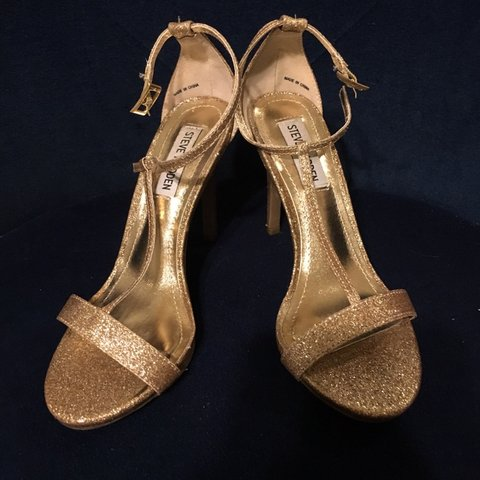 de4720b792b0 Beautifully sparkly gold strap he Steve Madden heels worn to - Depop