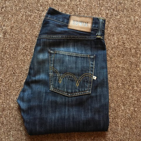 75a8299a655 Edwin jeans, Ed-55, Relaxed fit. 30Wx32L. Mid blast wash, of - Depop