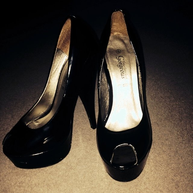 6c72a750317a Black patent peep toe shoes- 0