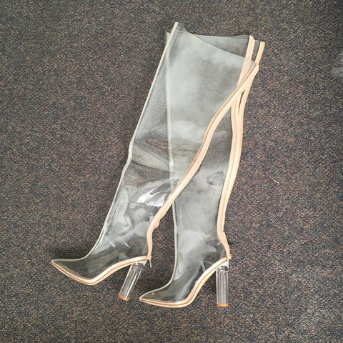 12791f56db7 Thigh High Transparent Boots Size 10 (Legit wore them once I - Depop