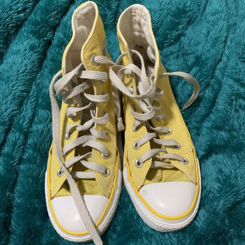 7c57d1c5d84004  kasooki. 5 months ago. United States. clean yellow converse barley used  good condition size 6 in women