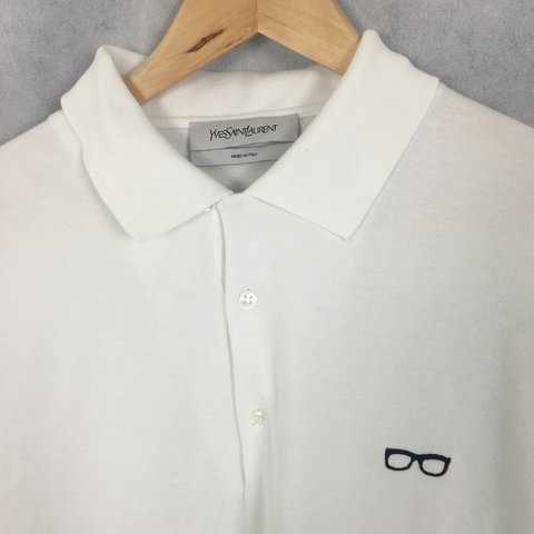 b54db704a Ysl Yves Saint Laurent size M white chest logo polo shirt. - Depop
