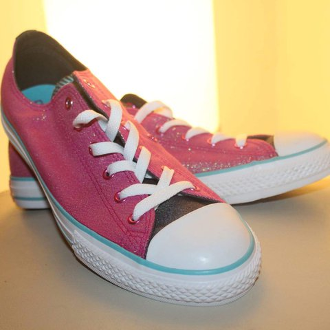 98c28bfa54bf Quirky sparkly pink and blue converse, never used, converse - Depop