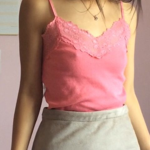 e377d89fce8854 Lace trim pink tank top with adjustable straps. Selling as I - Depop