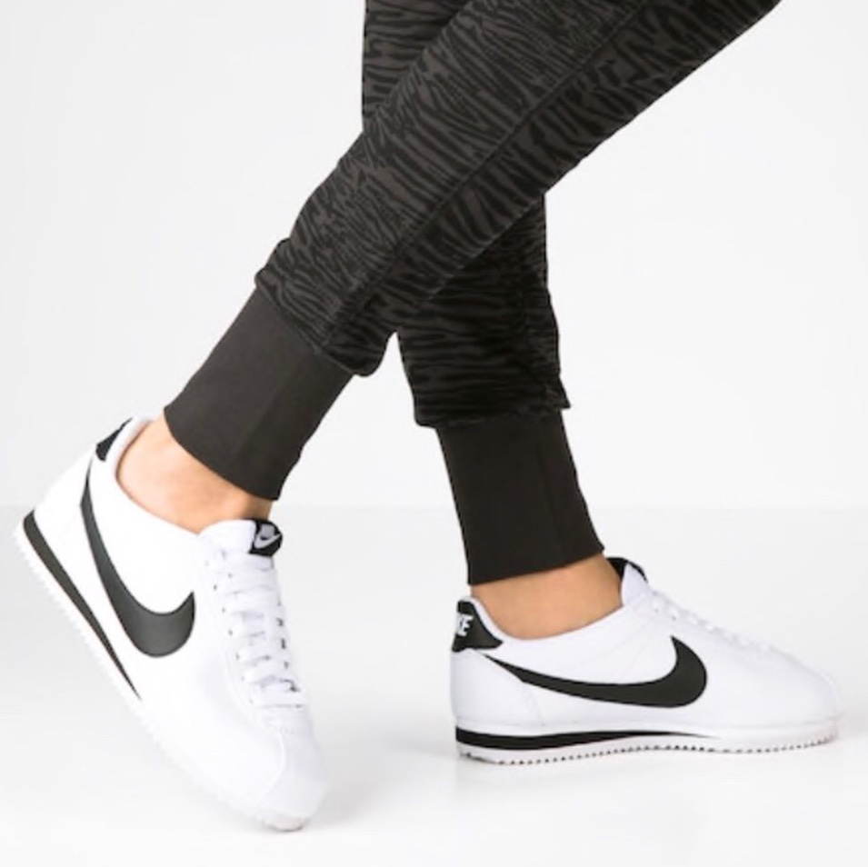 the latest 8c83c 7a0dd Nike Cortez Leather in White & Black UK Size 6 Worn... - Depop