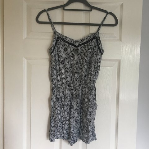 6a66e276e6a H M playsuit. Black and white print with lace crochet just x - Depop