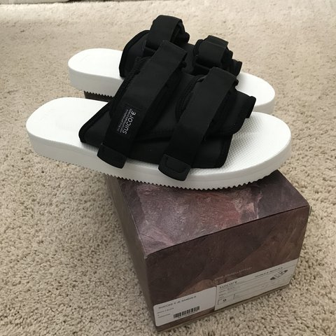 49ef65b1ab8 @88sellsell. last year. Omaha, United States. Brand new unworn deadstock Suicoke  x John Elliott MOTO JE B slides sandals black white