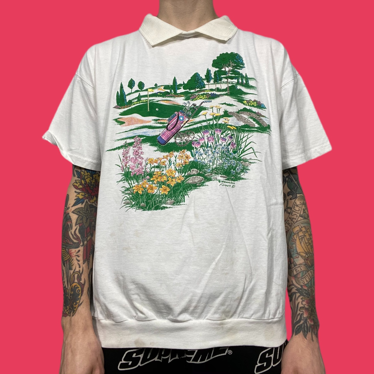 • vintage 90's white MORNING SUN GOLF colorful graphic