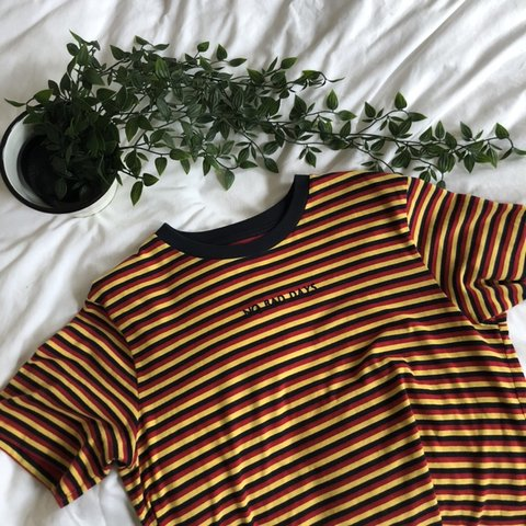 9b42add0d1 urban outfitters 'no bad days' red, yellow and black striped - Depop