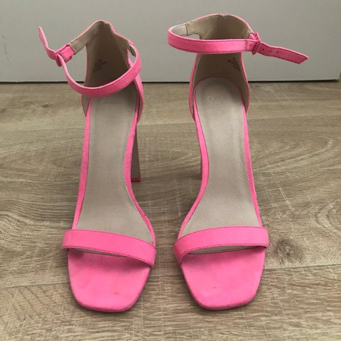 6d6d42f7693 Asos bright pink suede strappy sandal heels
