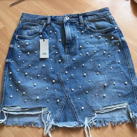 2e7ab2f093 Brand new with tags river island pearl denim skirt- never - - Depop