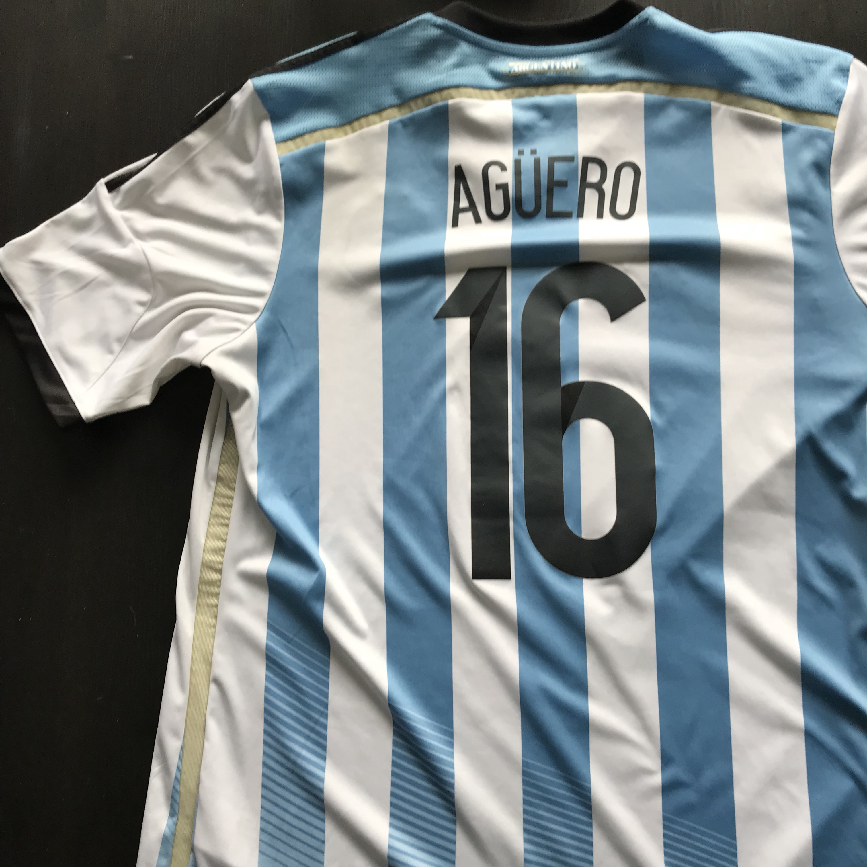 low priced 327ef bfba3 Argentina home kit with #16 Sergio Aguero on the... - Depop