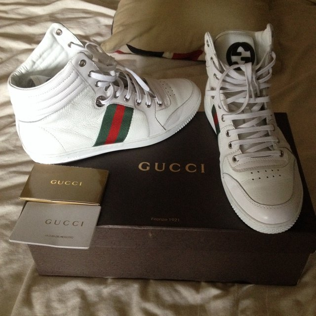 eea65c2e3 Gucci hi tops size 8- spare laces dust bag and box available - Depop