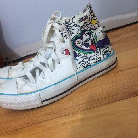 White blue magical doodle converse Women s 7 men s 5 Some - Depop 24d35e0d8