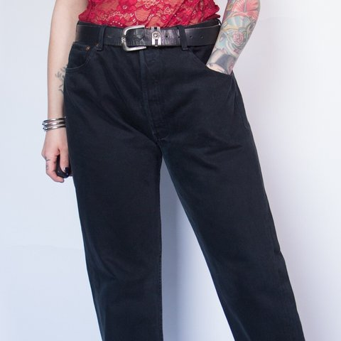 8211d2e1 @soldyoursoul. 9 days ago. Hull, United Kingdom. Vintage Levi's Black 501  Series Wide Leg High Waist Jeans - classic straight ...