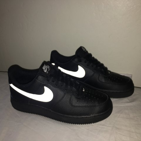 Nike Air Force one black on black with white 3m reflective - Depop 957863daa4