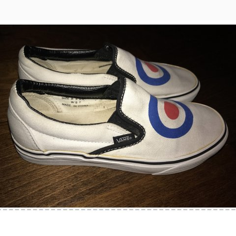 b2a850e32d2206 Vans white slip on shoes with archery-target design on the 7 - Depop