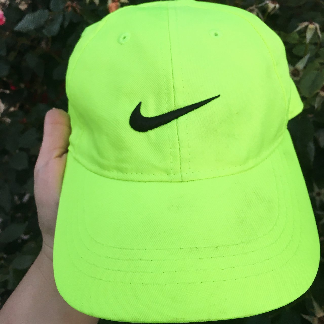 11207f60a43 Lime green Nike dad hat! ✨ Such a beautiful bright color a - Depop