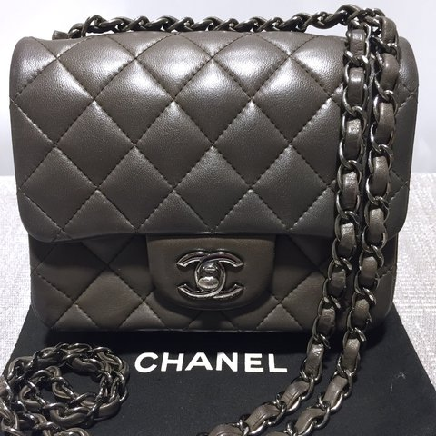 9c3b47fc0657f1 CHANEL Mini Square flap bag Lambskin leather and the color - Depop