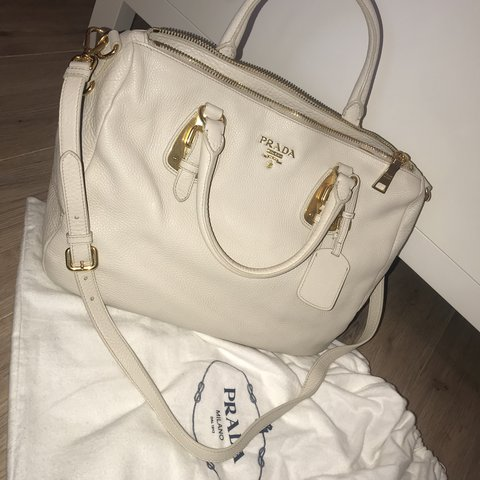 bb7235b6ab @natalyawrightx. last year. Romford, United Kingdom. Brand new Authentic  Prada Cream & Gold bag.