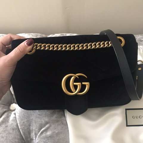 35349eb086d7 Gg marmont black velvet, small size . Authentic and brand in - Depop