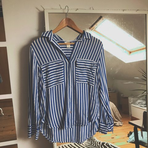 Blue   white stripped loose fitting shirt 6a839bf5e