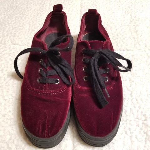 f7ef029ab60a Maroon red velvet platform sneakers from H M. These are a I - Depop