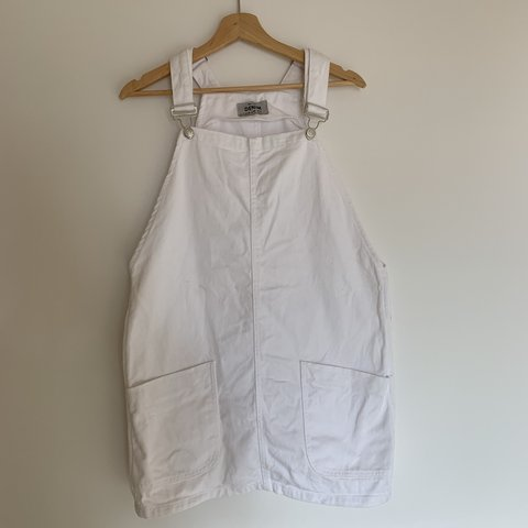 a9e5a929586 White denim dungaree pinafore dress. New Look