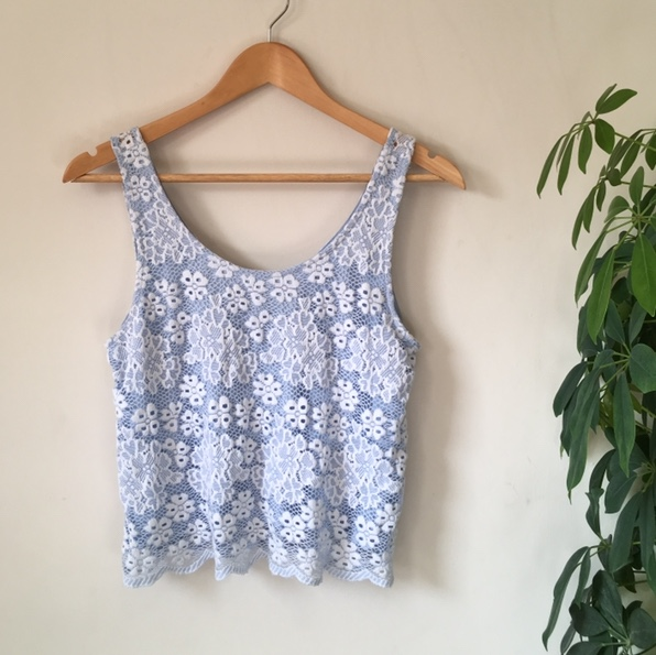 beautiful flowy sheer lace blue topshop cami top; Depop
