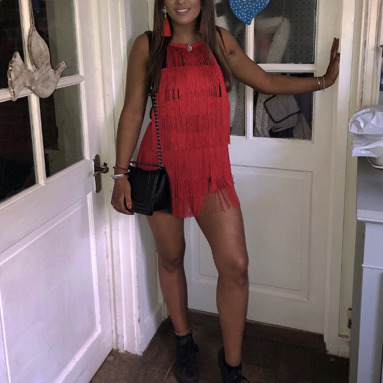 9438fd72e50 Selling this red tassel playsuit from one once!! Bought for - Depop