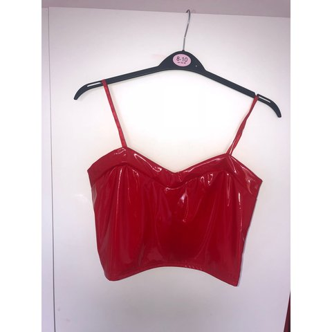 62c1d655b8 Red PU crop top bralet💋 Perfect for festivals! Stretchy     - Depop