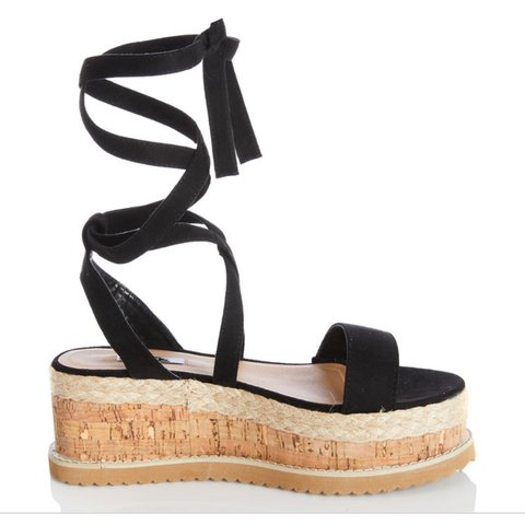 b0b788813f0a Black Faux Suede Espadrille Flatform Wedge Sandals