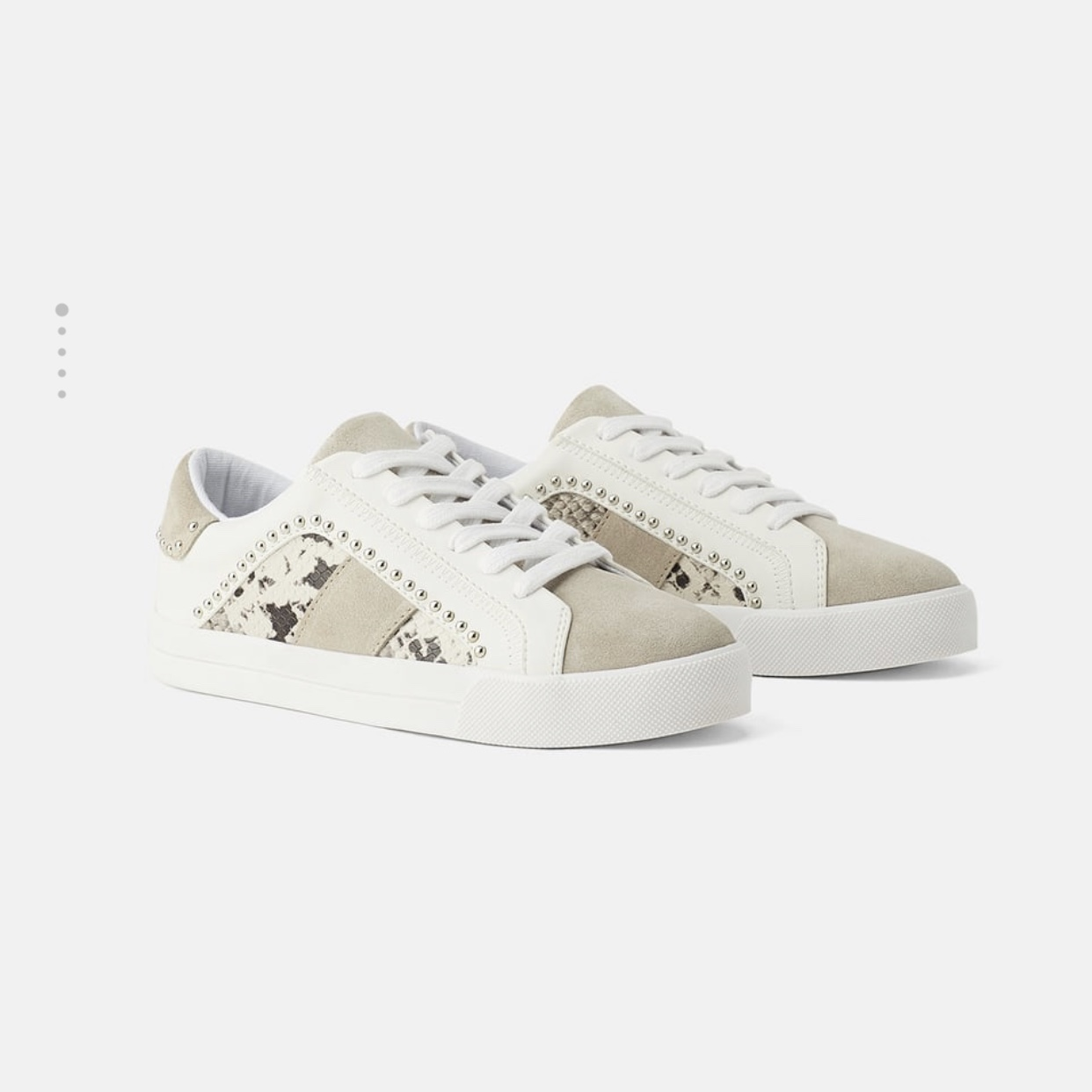 Zara White studded trainers with suede