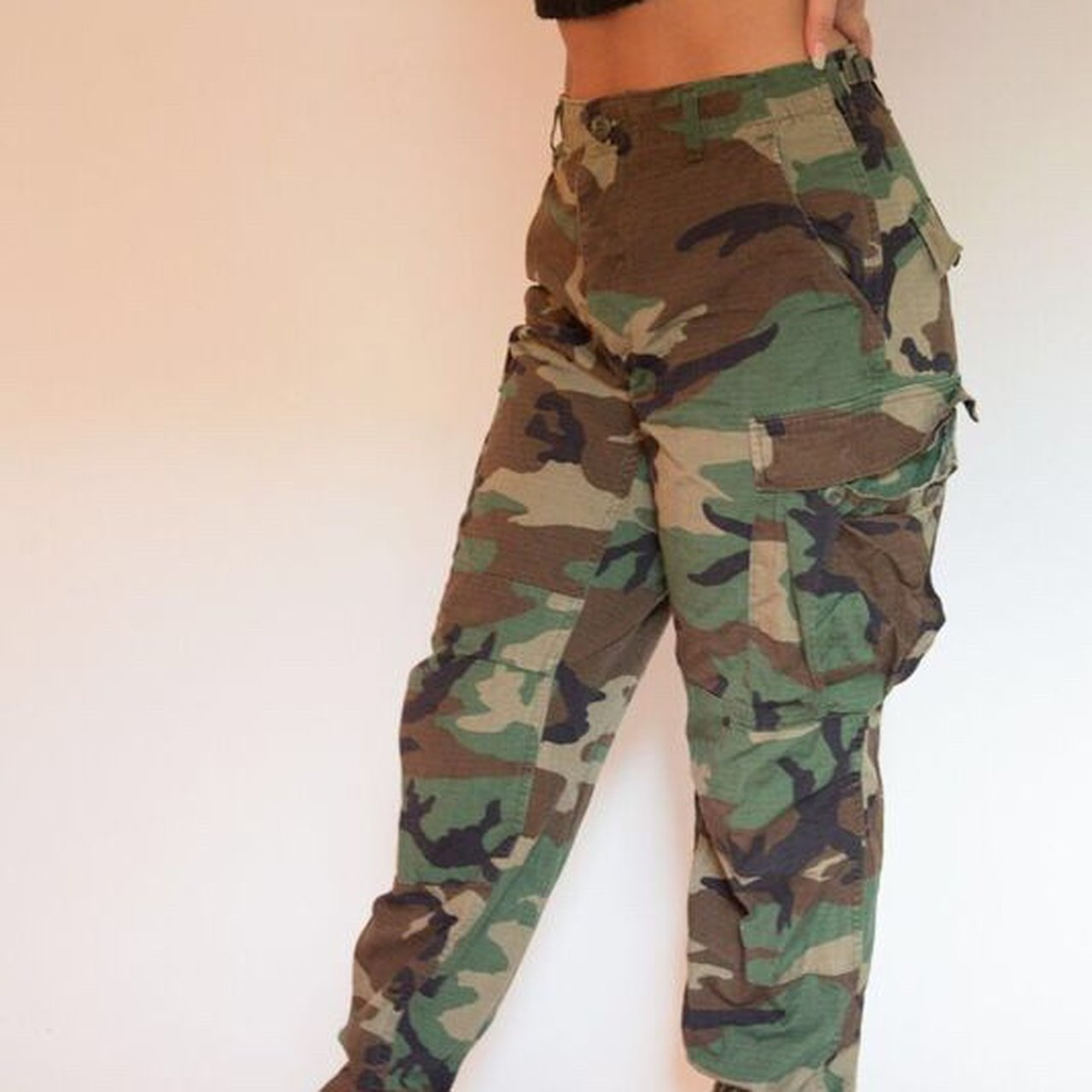 Authentic Army Camo pants Will fit sizes 6-8 Waist  ties - Depop 7801c0896d4