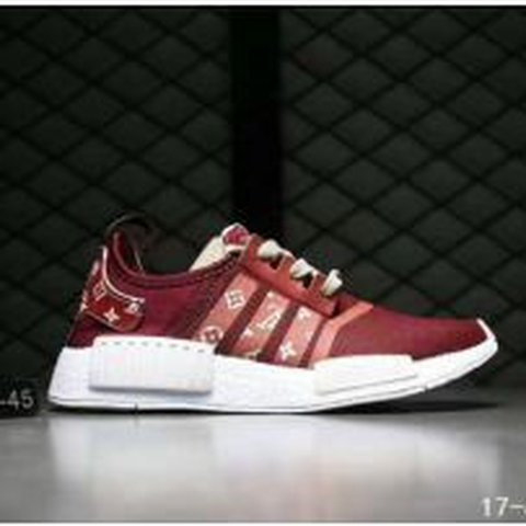 6bbcd5aea Louis vuitton x adidas nmd r1 boost shoes  Maroon and orange - Depop