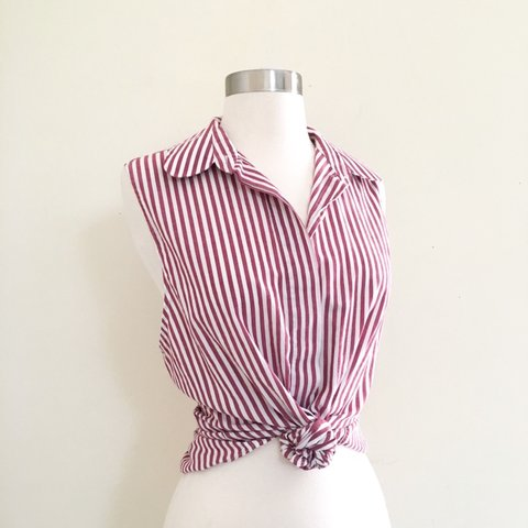 5b891d890edda Pink and white striped sleeveless button up Size XS S So to - Depop