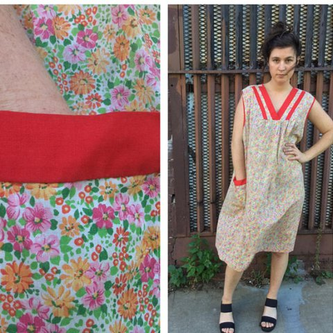 50s Sears Ditsy Floral V Neck Plus Size Lounge Dress With Xl Depop