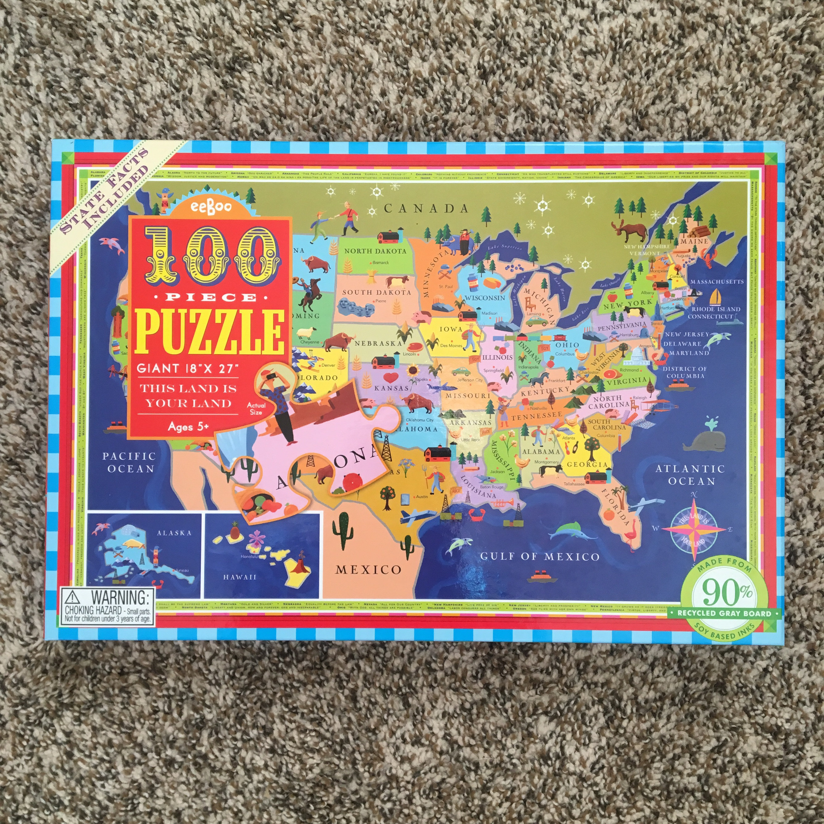 Eeboo United States Map Puzzle-this land is your... - Depop