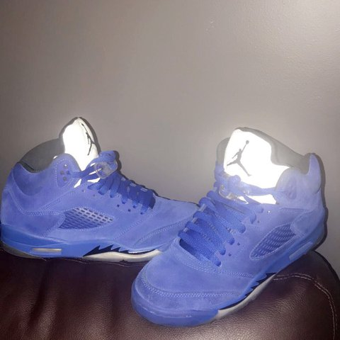77cc16169d7265 Air Jordan 5 blue suede Size  6.5 Worn but still in great - Depop