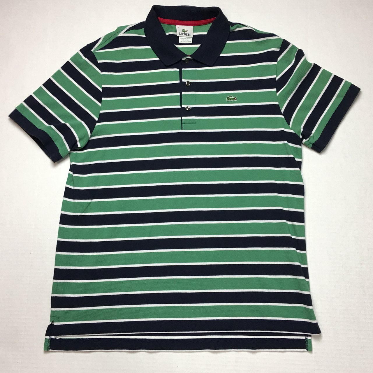 Lacoste Classic Striped Polo Shirt Size L Tagged Eu 6 But Depop