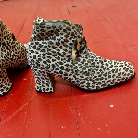 69bc7c1046ea @marymilk. last year. Baltimore, United States. Amazing vintage cheetah / leopard  print suede ankle booties ...