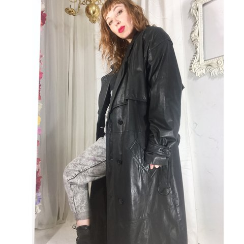 92965ad230a8 Amazing vintage black genuine leather trench coat with a and - Depop