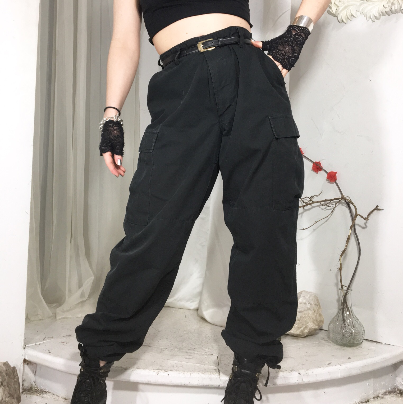 official price latest trends women Perfect black baggy cargo pants with a high waist,... - Depop