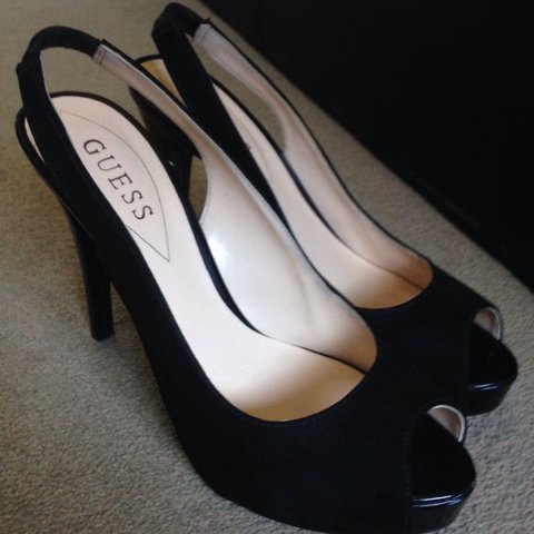 f034c12e3611 Guess black suede heels UK size 4 5 Only ever worn 4.5 5 - Depop