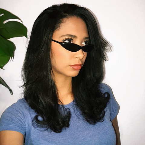 1254505a620 Ultra thin black vintage cat eye sunglasses. New wide x - Depop
